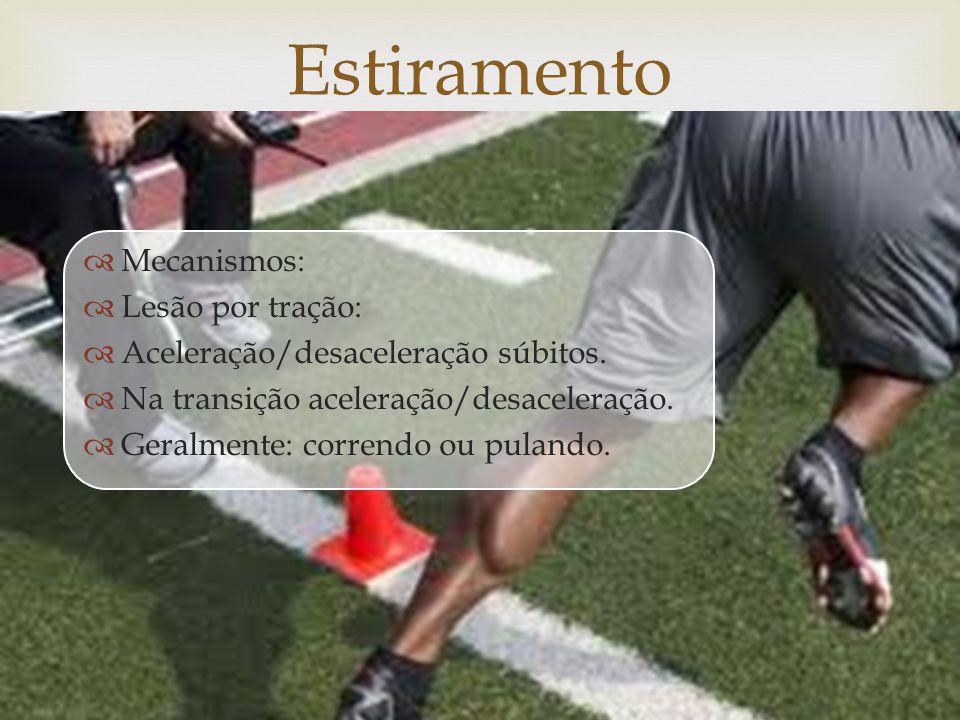 Estiramento Mecanismos: Lesão por tração: