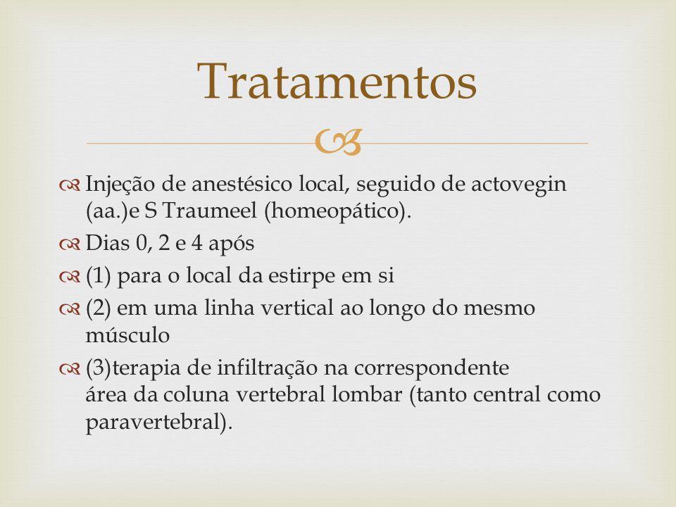 Tratamentos Injeção de anestésico local, seguido de actovegin (aa.)e S Traumeel (homeopático). Dias 0, 2 e 4 após.
