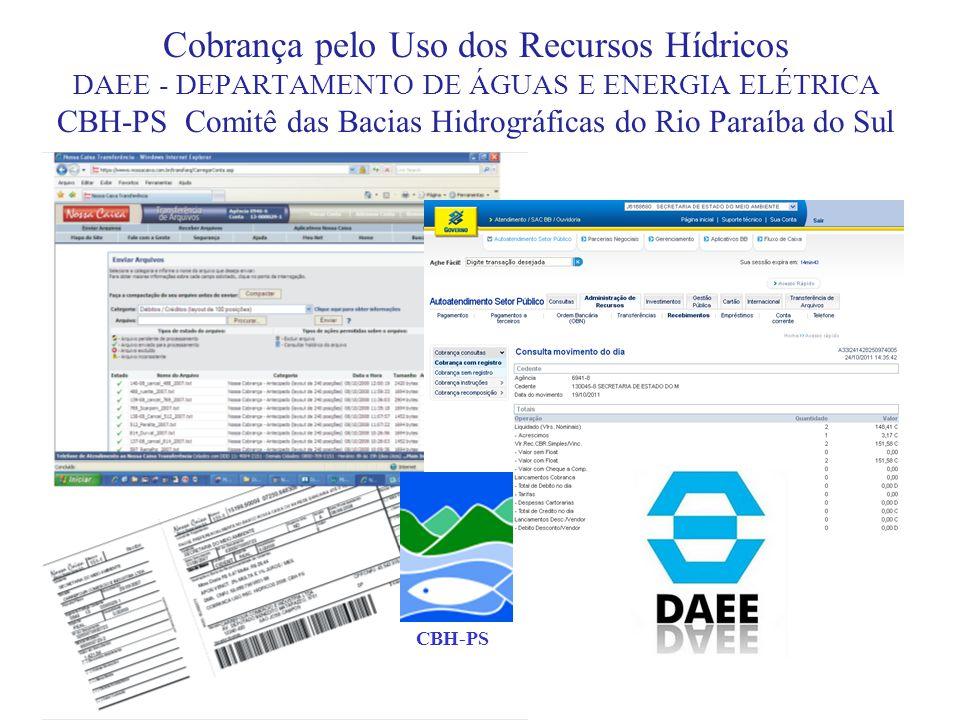 Cobrança pelo Uso dos Recursos Hídricos DAEE - DEPARTAMENTO DE ÁGUAS E ENERGIA ELÉTRICA CBH-PS Comitê das Bacias Hidrográficas do Rio Paraíba do Sul