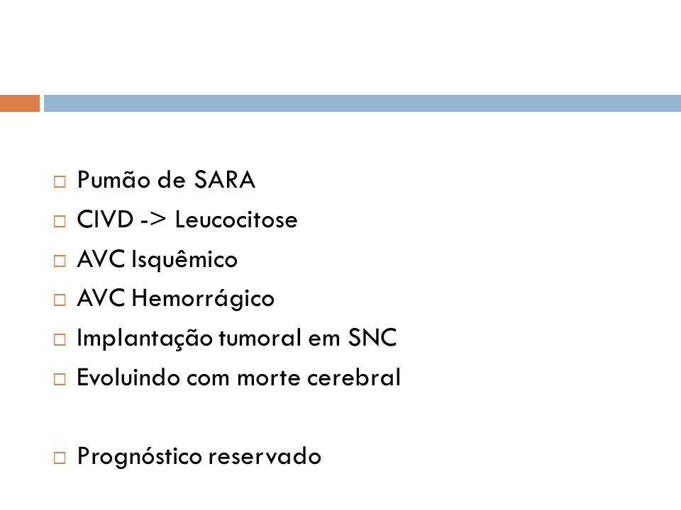 Pumão de SARA CIVD -> Leucocitose. AVC Isquêmico. AVC Hemorrágico. Implantação tumoral em SNC. Evoluindo com morte cerebral.