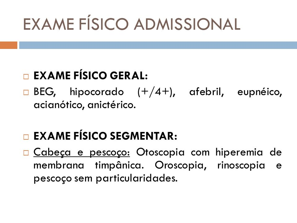 EXAME FÍSICO ADMISSIONAL