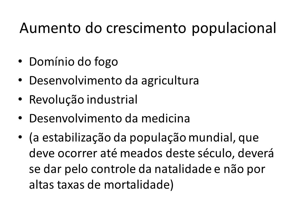 Aumento do crescimento populacional