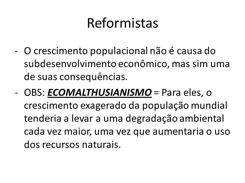 Reformistas O crescimento populacional não é causa do subdesenvolvimento econômico, mas sim uma de suas consequências.