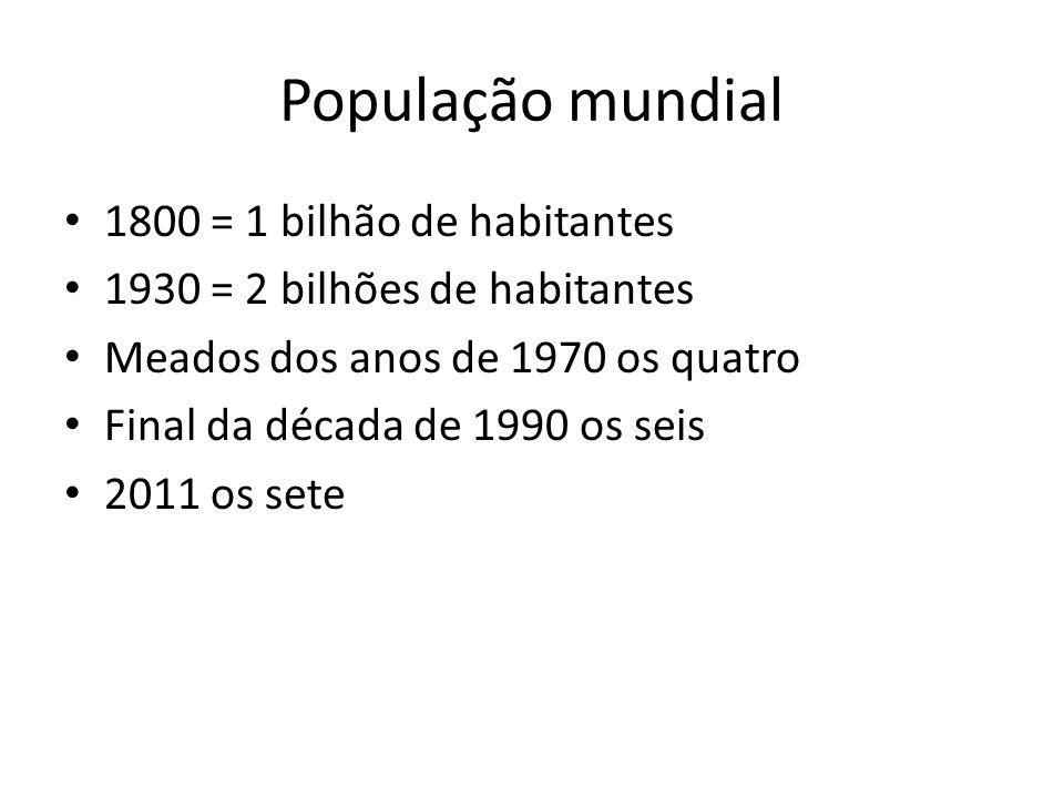 População mundial 1800 = 1 bilhão de habitantes