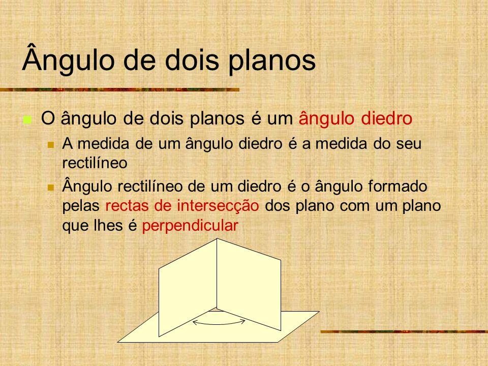 Ângulo de dois planos O ângulo de dois planos é um ângulo diedro