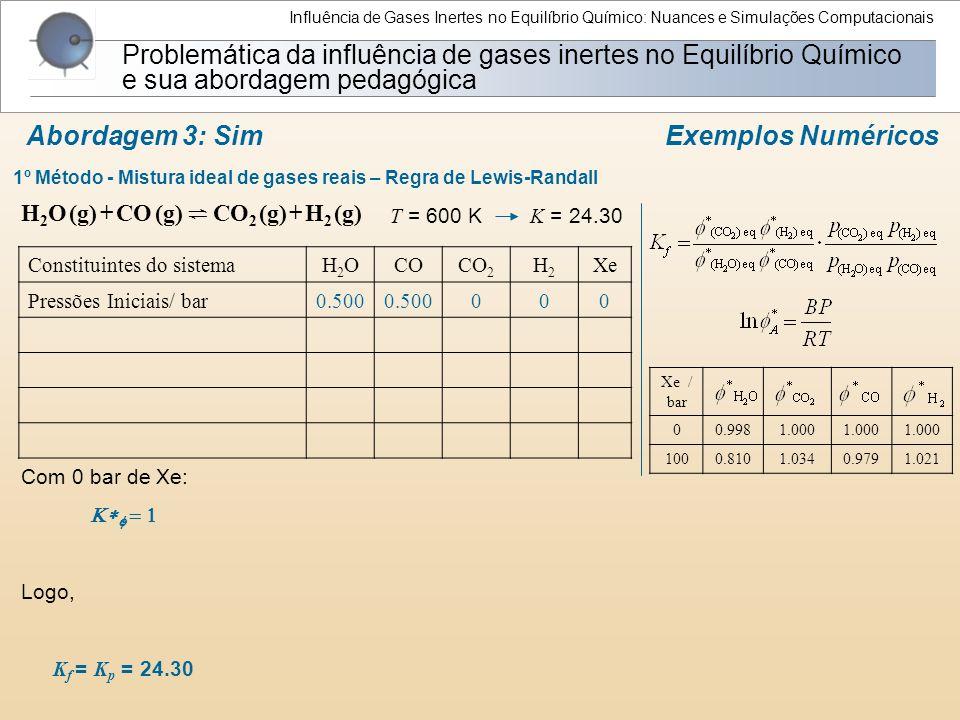 1º Método - Mistura ideal de gases reais – Regra de Lewis-Randall