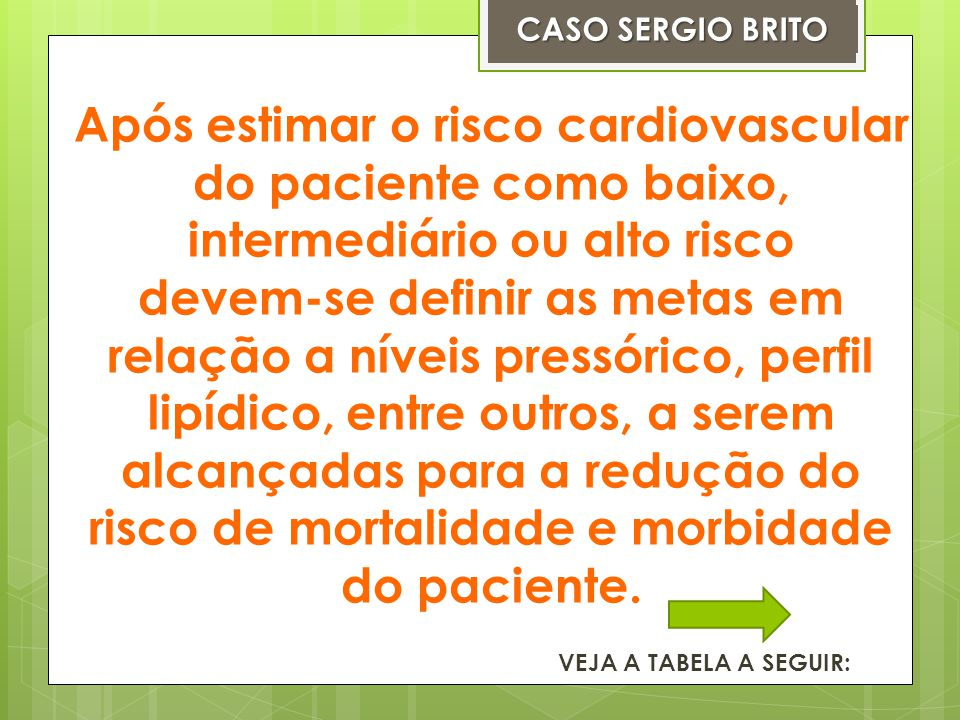 CASO SERGIO BRITO Após estimar o risco cardiovascular do paciente como baixo, intermediário ou alto risco.