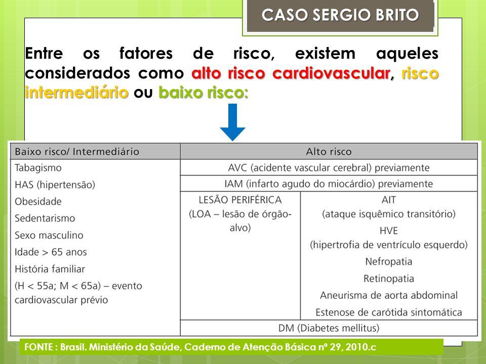 CASO SERGIO BRITO Entre os fatores de risco, existem aqueles considerados como alto risco cardiovascular, risco intermediário ou baixo risco: