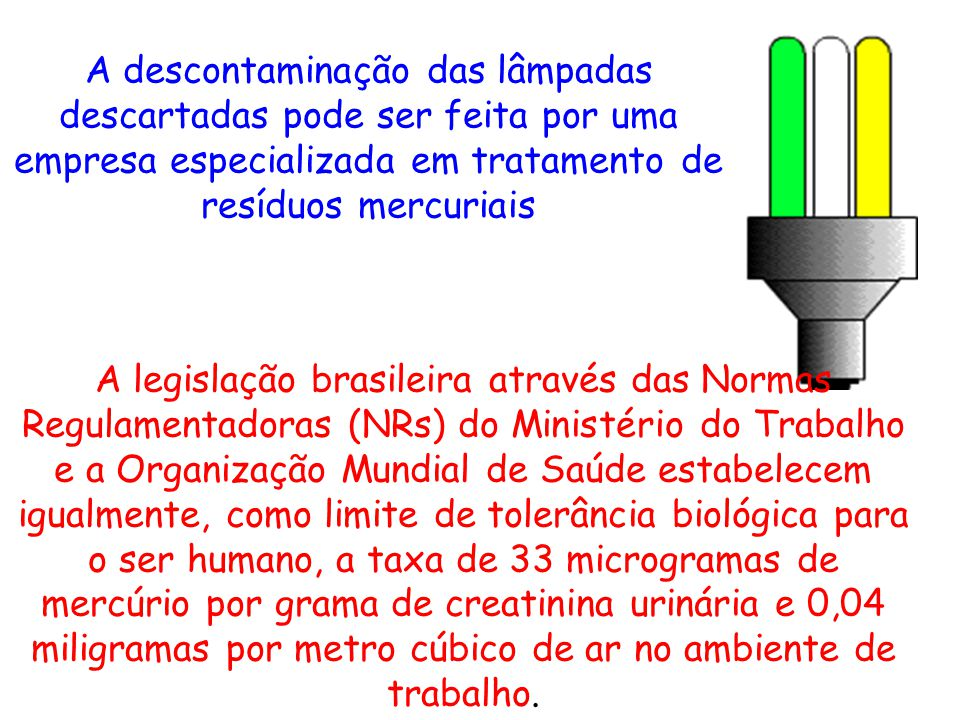 A descontaminação das lâmpadas descartadas pode ser feita por uma empresa especializada em tratamento de resíduos mercuriais
