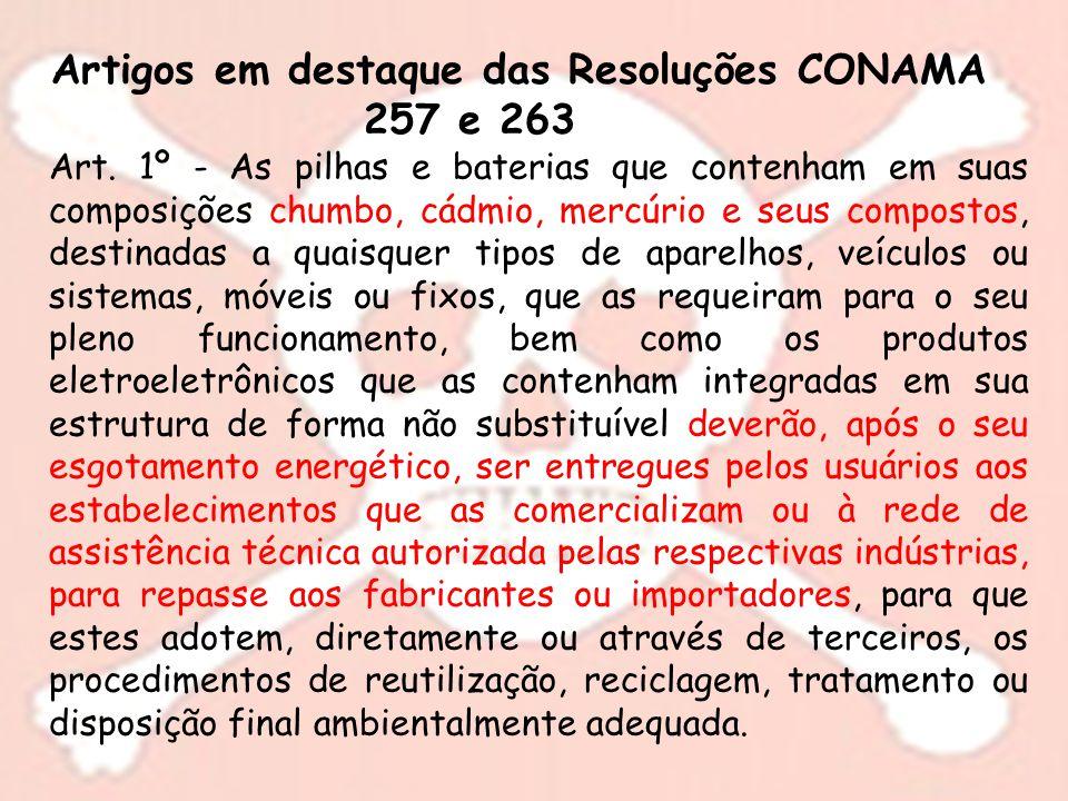 Artigos em destaque das Resoluções CONAMA 257 e 263