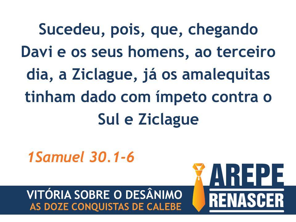 Sucedeu, pois, que, chegando Davi e os seus homens, ao terceiro dia, a Ziclague, já os amalequitas tinham dado com ímpeto contra o Sul e Ziclague