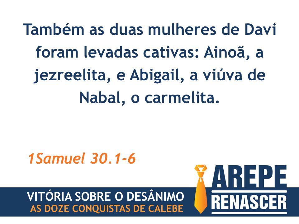 Também as duas mulheres de Davi foram levadas cativas: Ainoã, a jezreelita, e Abigail, a viúva de Nabal, o carmelita.