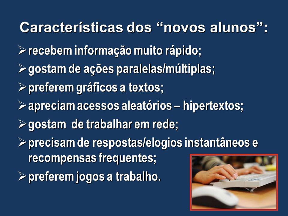 Características dos novos alunos :
