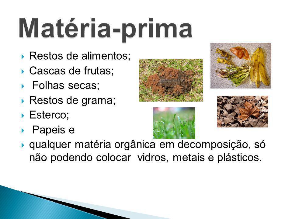 Matéria-prima Restos de alimentos; Cascas de frutas; Folhas secas;