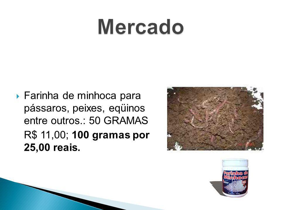 Mercado Farinha de minhoca para pássaros, peixes, eqüinos entre outros.: 50 GRAMAS.