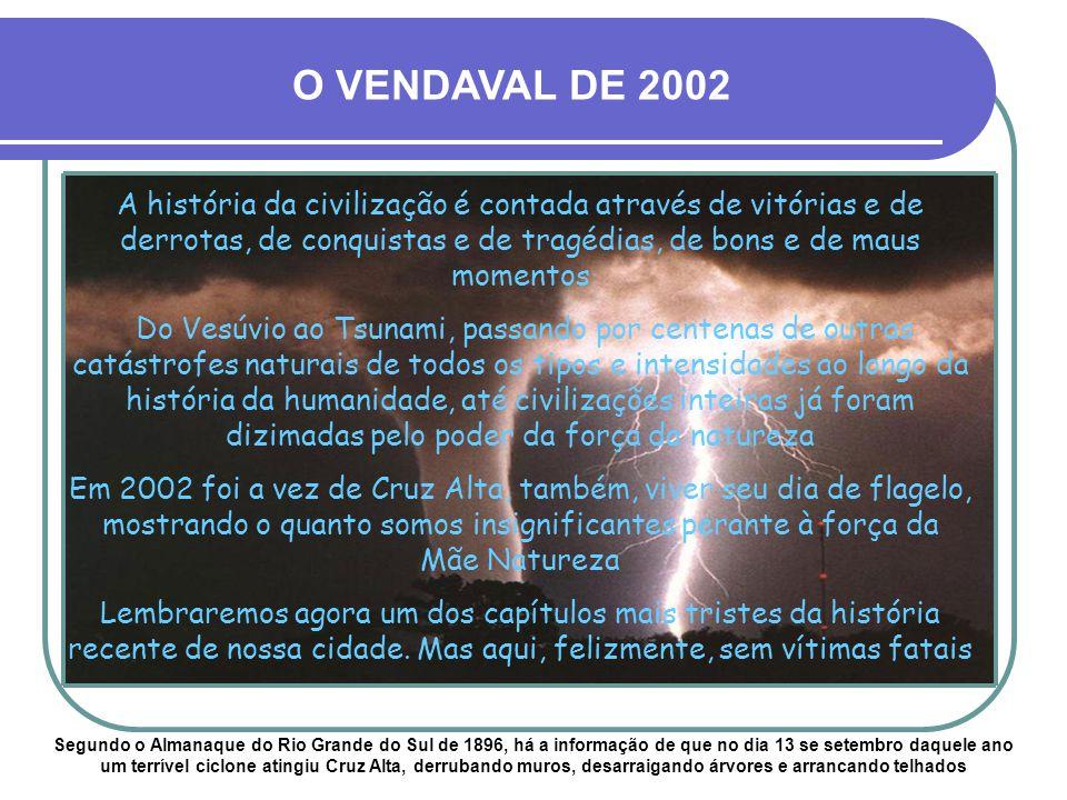 O VENDAVAL DE 2002 A história da civilização é contada através de vitórias e de derrotas, de conquistas e de tragédias, de bons e de maus momentos.