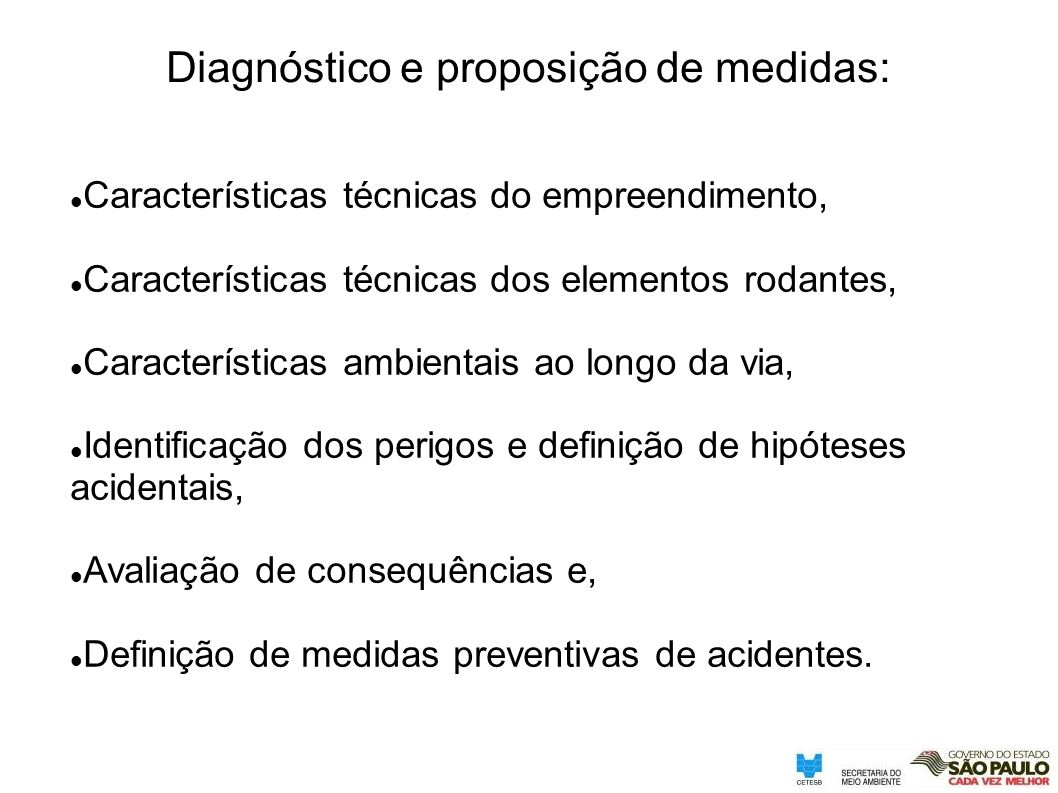 Diagnóstico e proposição de medidas: