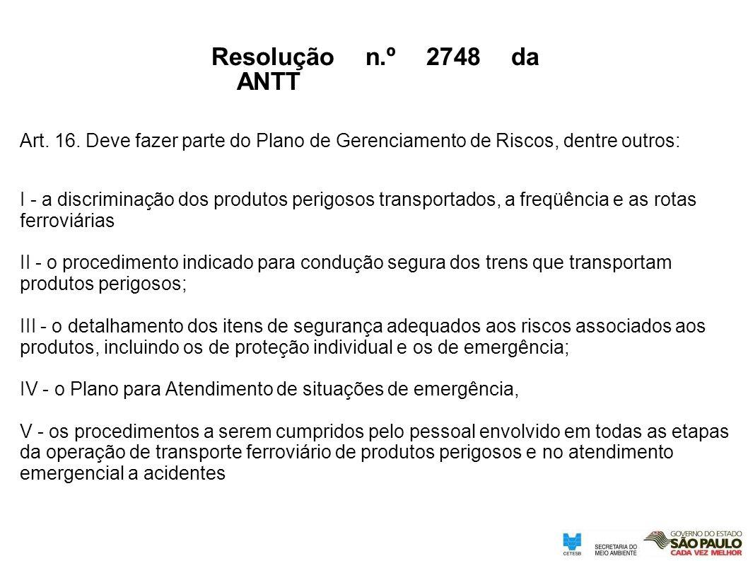 Resolução n.º 2748 da ANTT Art. 16. Deve fazer parte do Plano de Gerenciamento de Riscos, dentre outros: