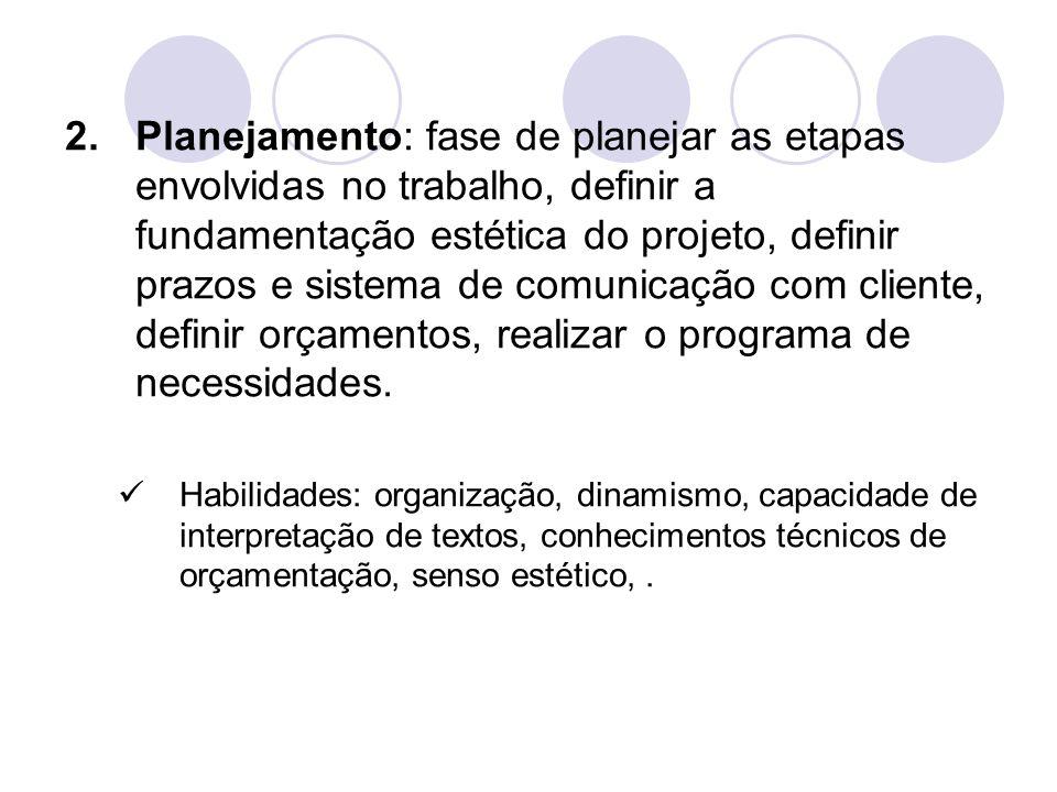 Planejamento: fase de planejar as etapas envolvidas no trabalho, definir a fundamentação estética do projeto, definir prazos e sistema de comunicação com cliente, definir orçamentos, realizar o programa de necessidades.