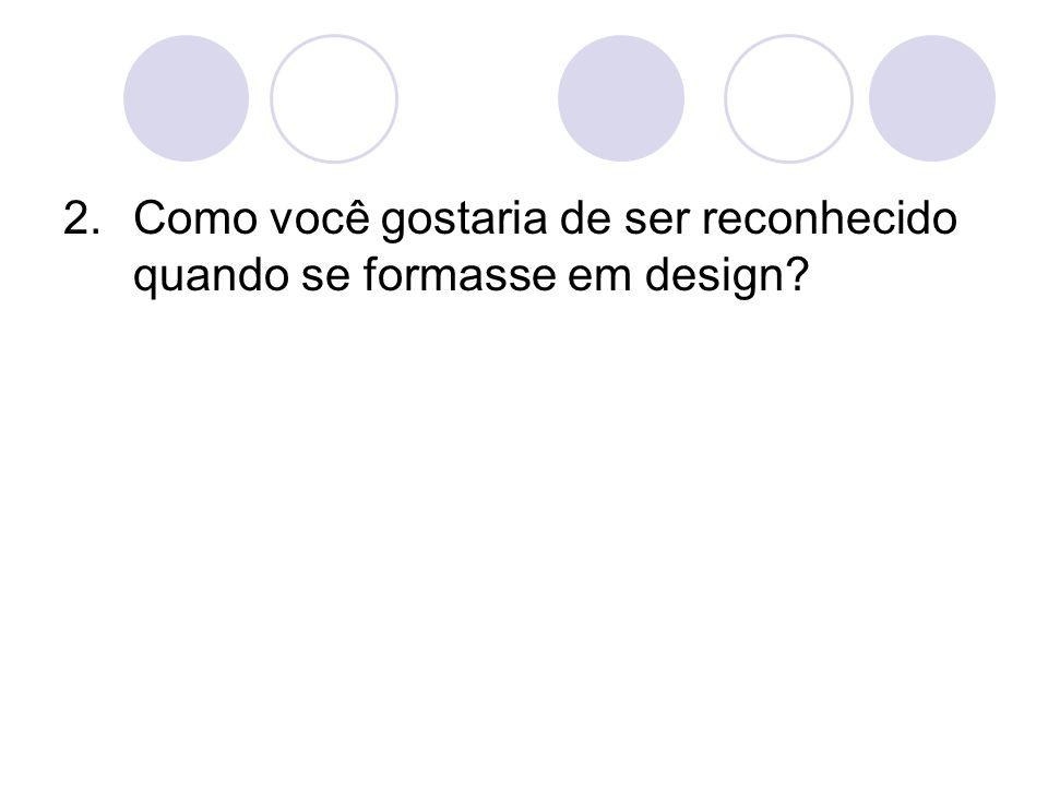 Como você gostaria de ser reconhecido quando se formasse em design