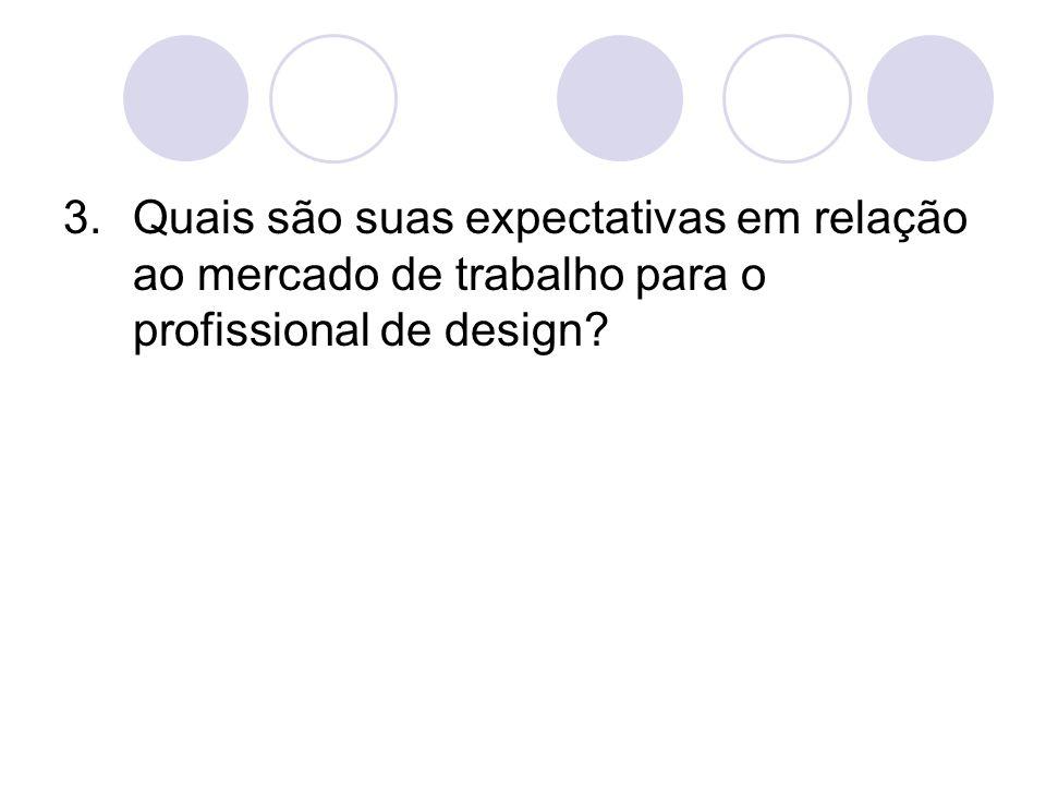 Quais são suas expectativas em relação ao mercado de trabalho para o profissional de design