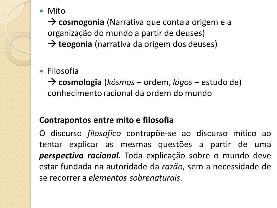 Mito  cosmogonia (Narrativa que conta a origem e a organização do mundo a partir de deuses)  teogonia (narrativa da origem dos deuses)