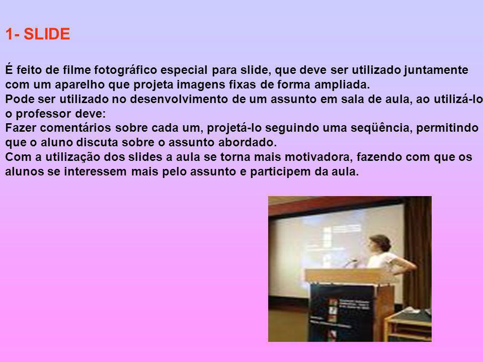 1- SLIDE É feito de filme fotográfico especial para slide, que deve ser utilizado juntamente.