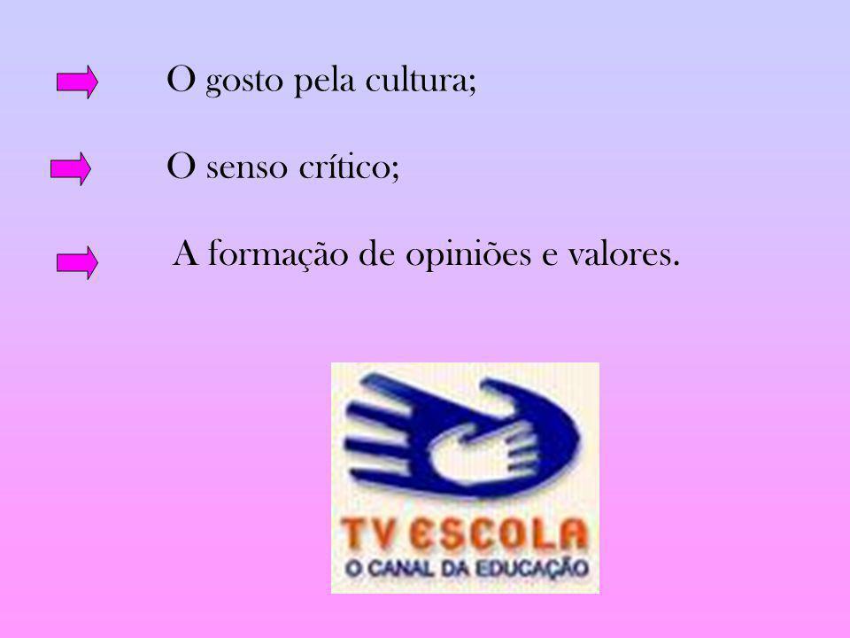 O gosto pela cultura; O senso crítico; A formação de opiniões e valores.