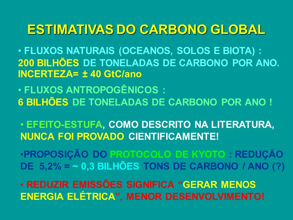 ESTIMATIVAS DO CARBONO GLOBAL