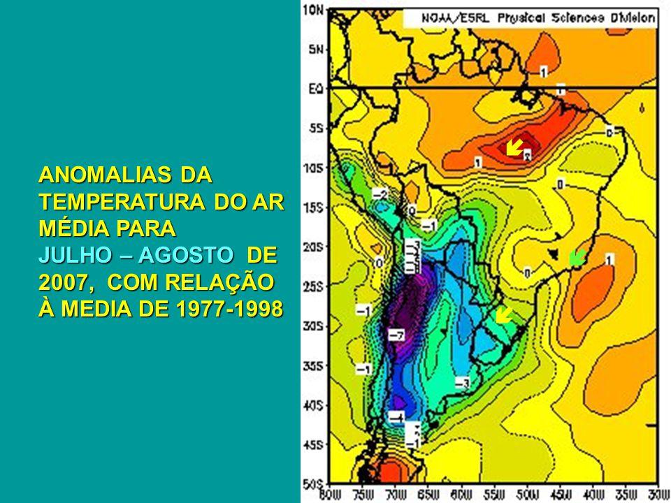  ANOMALIAS DA TEMPERATURA DO AR MÉDIA PARA JULHO – AGOSTO DE 2007, COM RELAÇÃO À MEDIA DE 1977-1998.