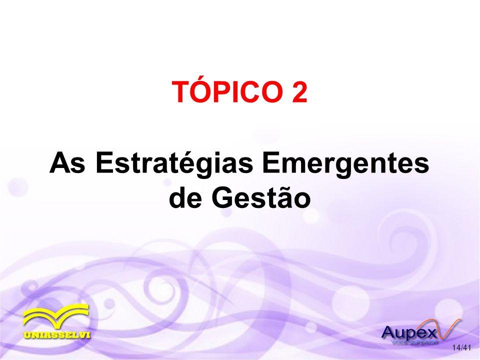 TÓPICO 2 As Estratégias Emergentes de Gestão