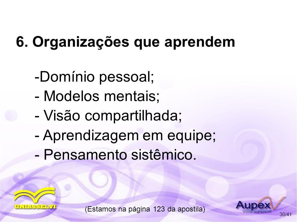 6. Organizações que aprendem