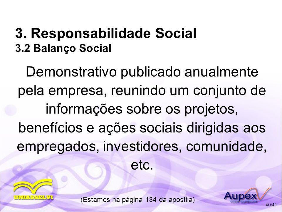 3. Responsabilidade Social 3.2 Balanço Social