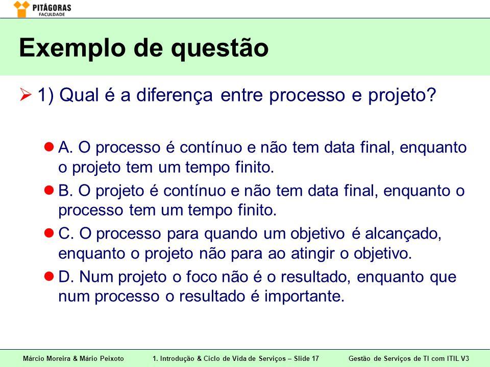 Exemplo de questão 1) Qual é a diferença entre processo e projeto