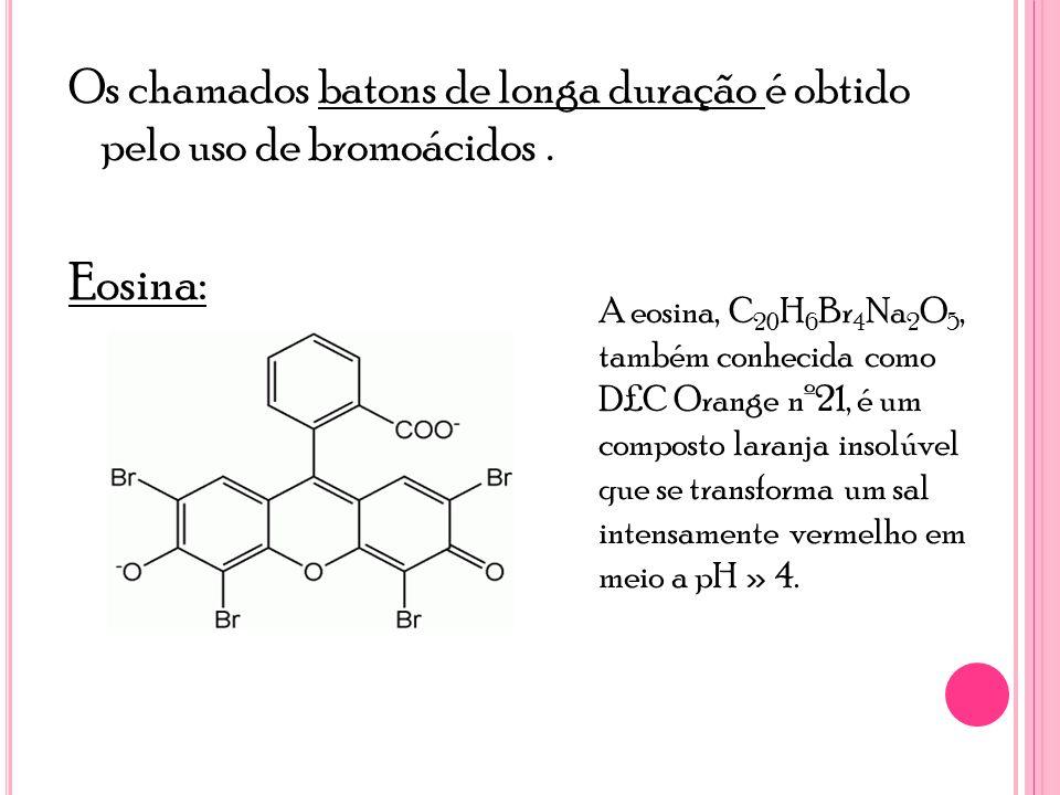 Os chamados batons de longa duração é obtido pelo uso de bromoácidos .