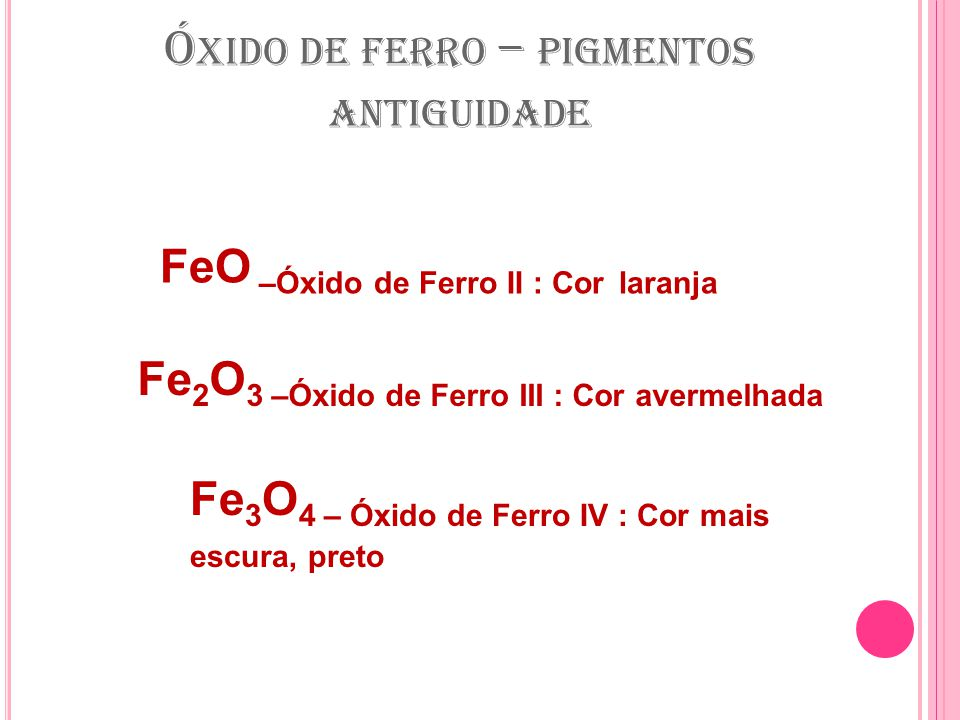 Óxido de ferro – pigmentos antiguidade