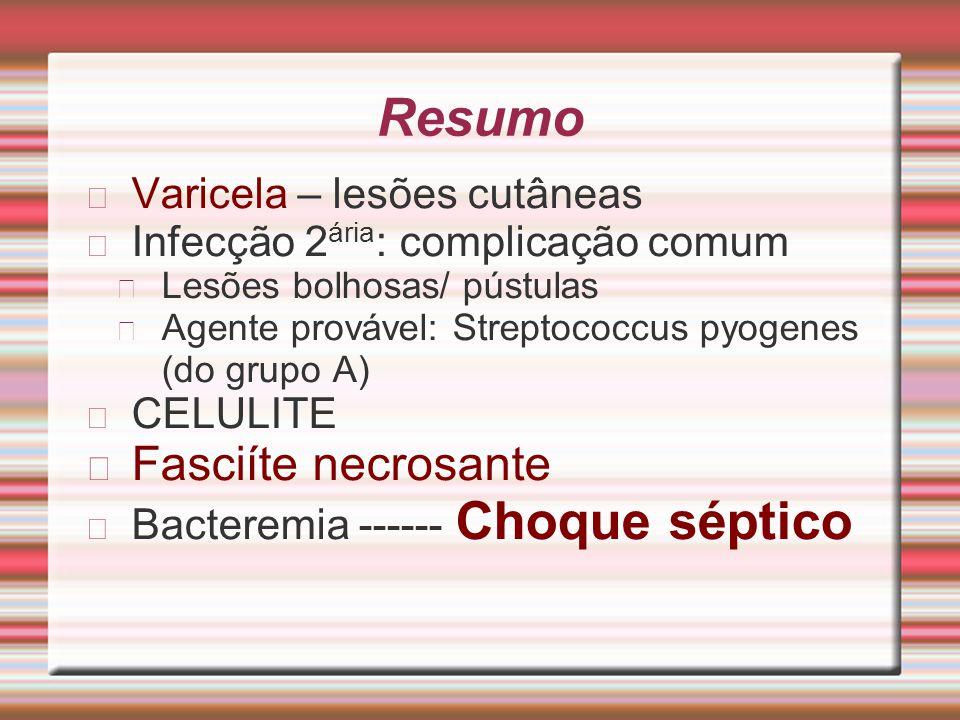 Resumo Fasciíte necrosante Varicela – lesões cutâneas