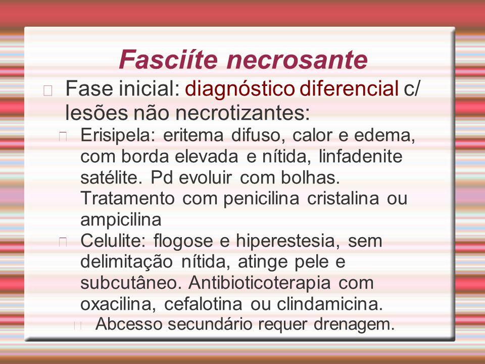 Fasciíte necrosante Fase inicial: diagnóstico diferencial c/ lesões não necrotizantes: