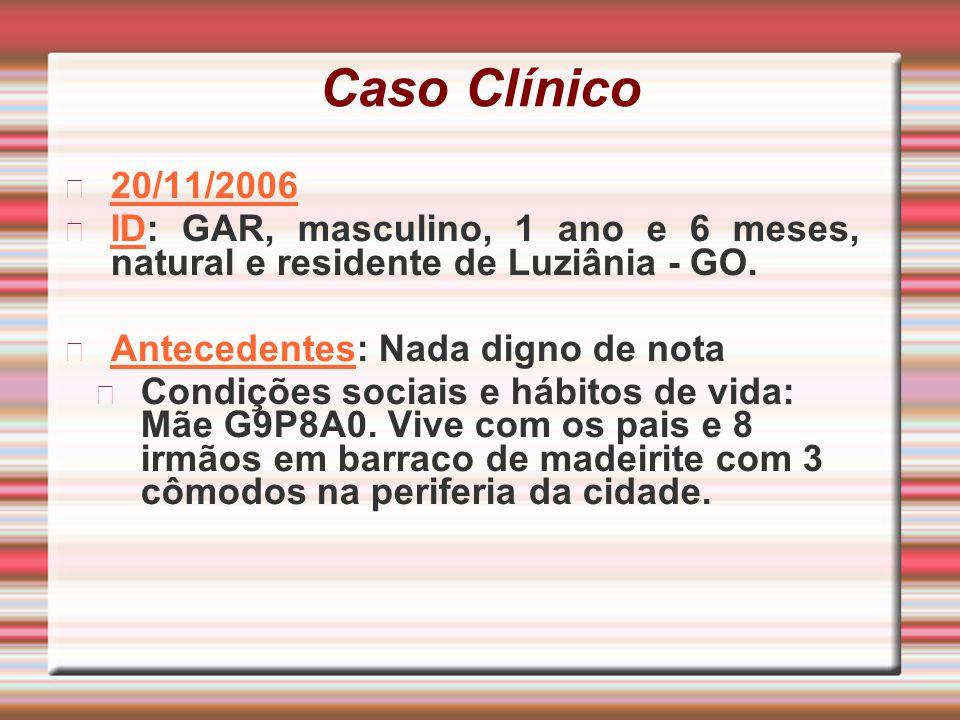 Caso Clínico 20/11/2006. ID: GAR, masculino, 1 ano e 6 meses, natural e residente de Luziânia - GO.