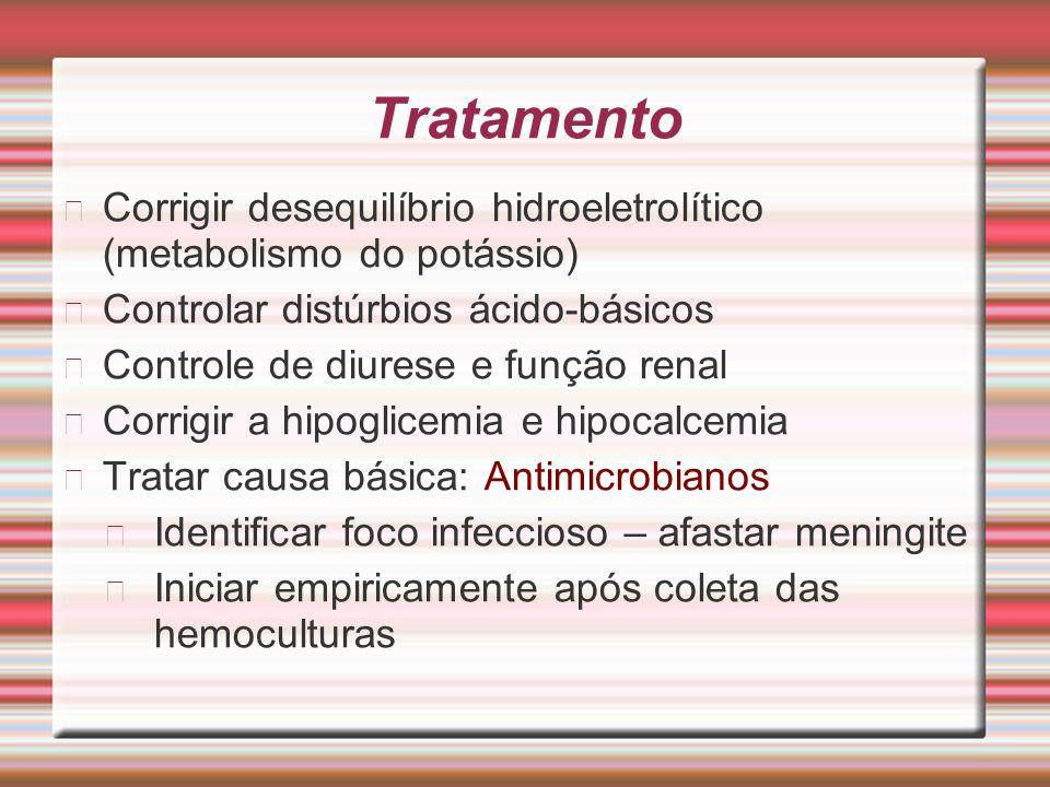 Tratamento Corrigir desequilíbrio hidroeletrolítico (metabolismo do potássio) Controlar distúrbios ácido-básicos.