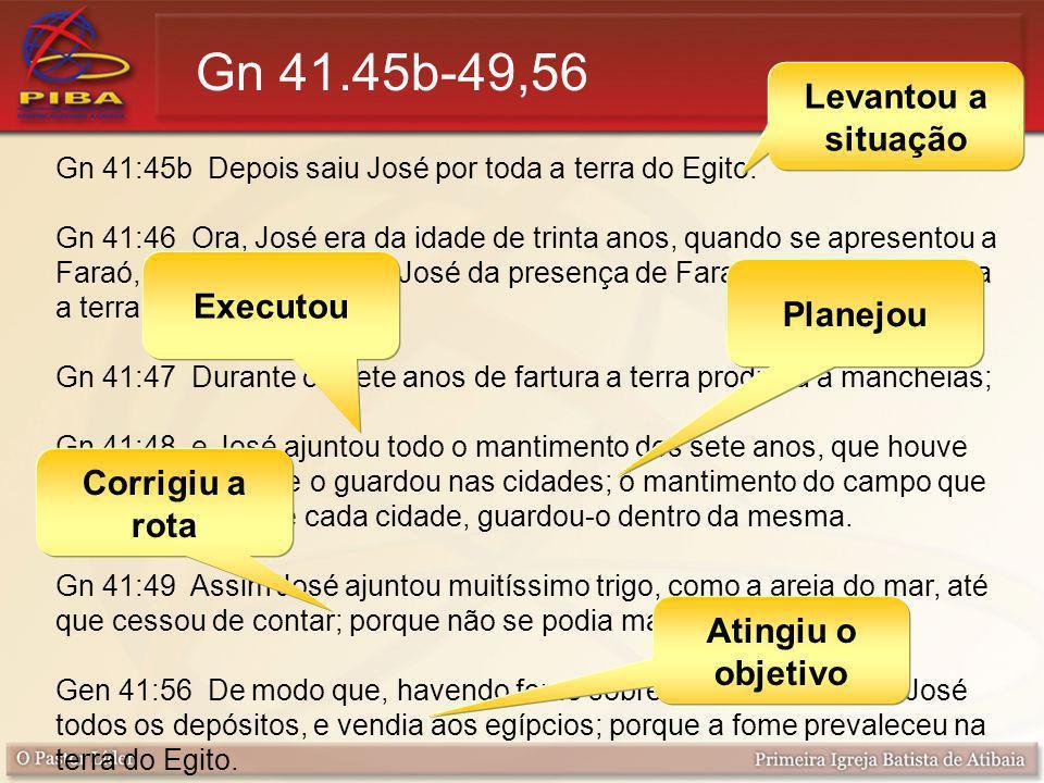 Gn 41.45b-49,56 Levantou a situação Executou Planejou Corrigiu a rota