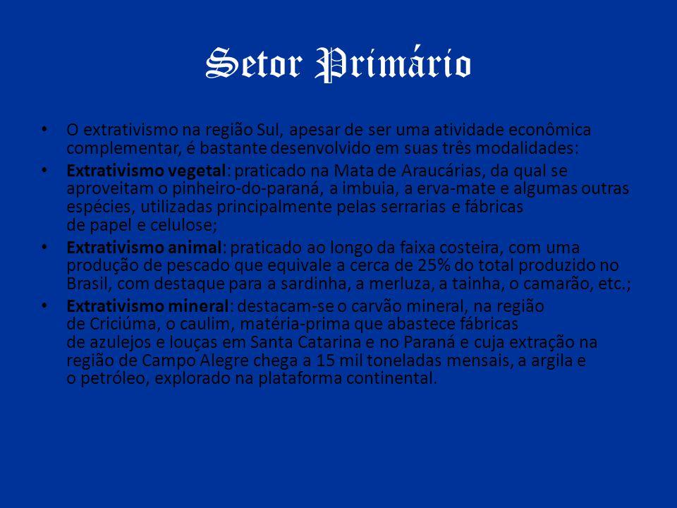 Setor Primário O extrativismo na região Sul, apesar de ser uma atividade econômica complementar, é bastante desenvolvido em suas três modalidades: