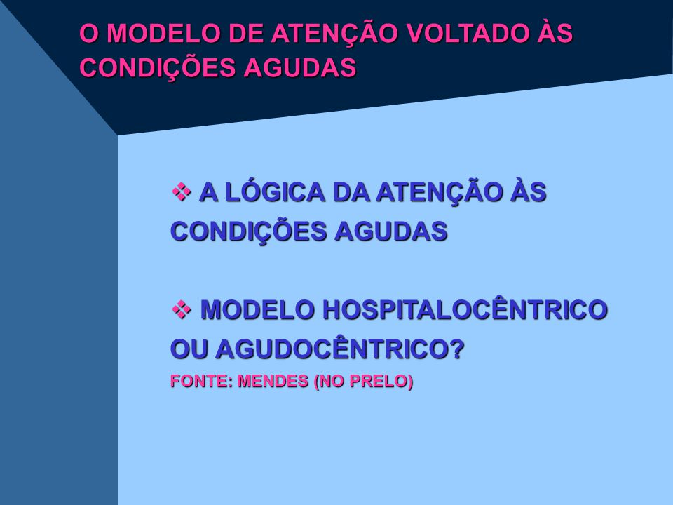 O MODELO DE ATENÇÃO VOLTADO ÀS