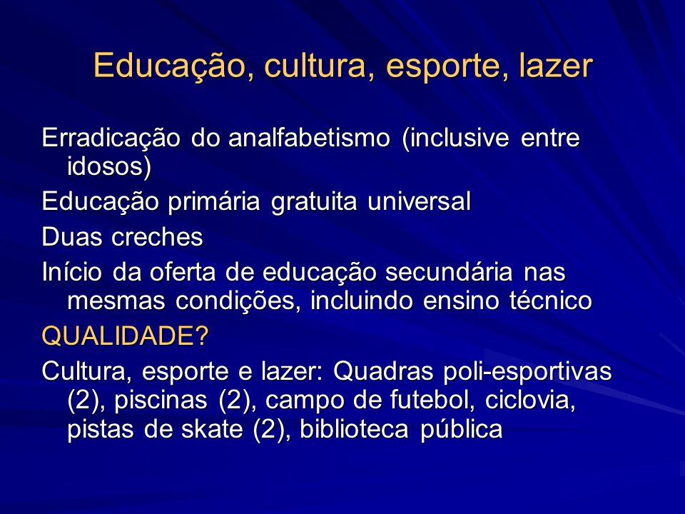 Educação, cultura, esporte, lazer