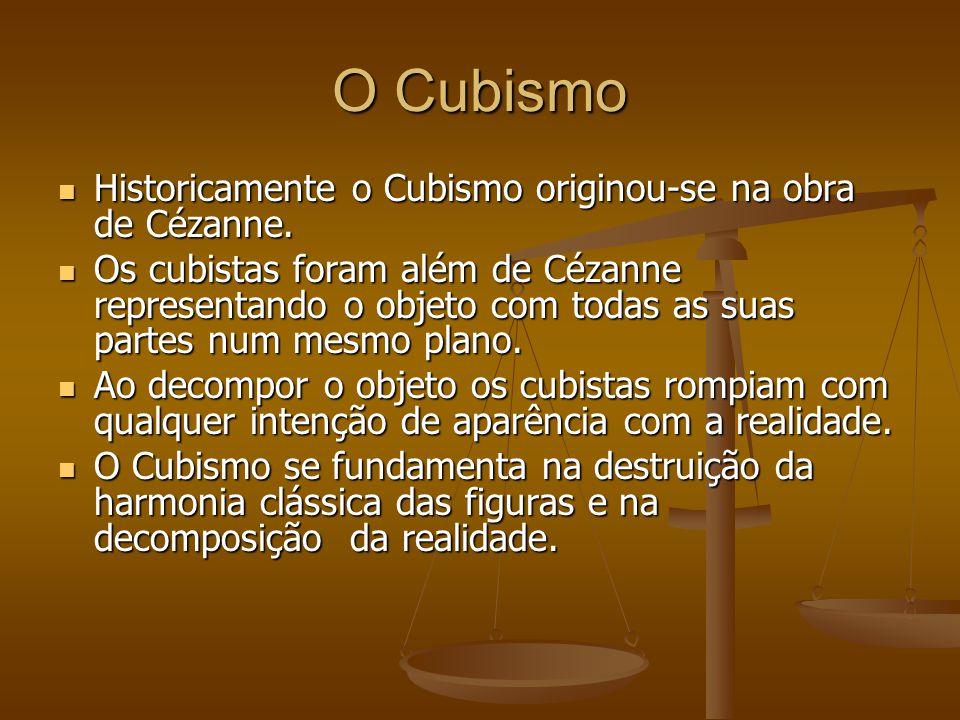 O Cubismo Historicamente o Cubismo originou-se na obra de Cézanne.