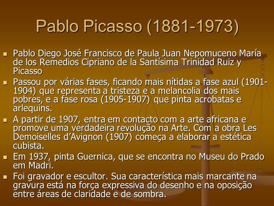 Pablo Picasso (1881-1973) Pablo Diego José Francisco de Paula Juan Nepomuceno María de los Remedios Cipriano de la Santísima Trinidad Ruiz y Picasso.