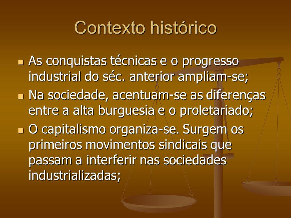 Contexto histórico As conquistas técnicas e o progresso industrial do séc. anterior ampliam-se;