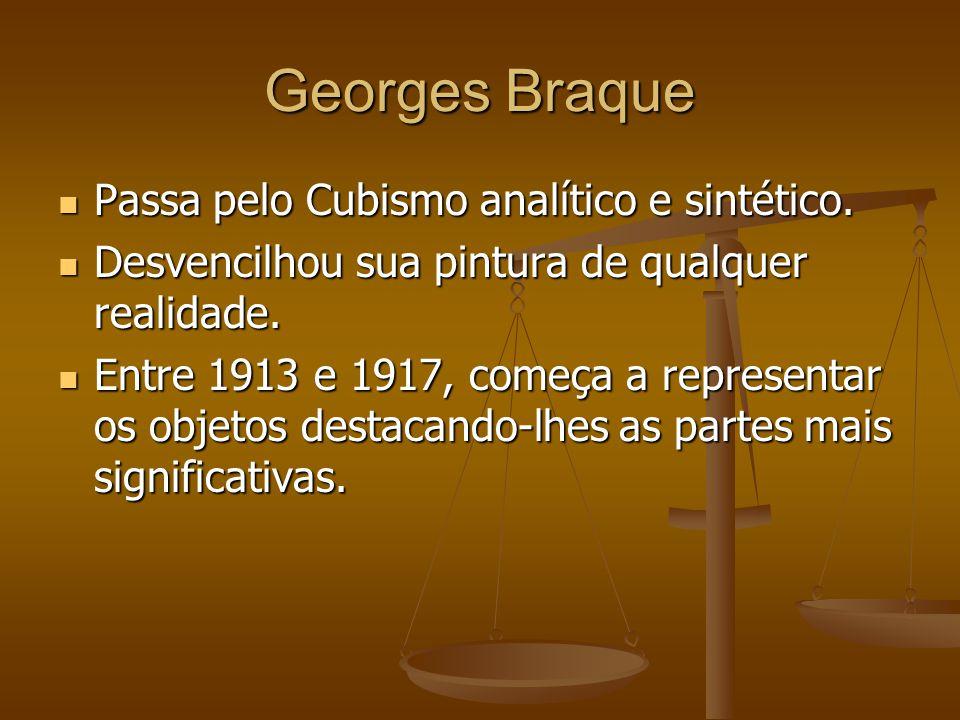 Georges Braque Passa pelo Cubismo analítico e sintético.