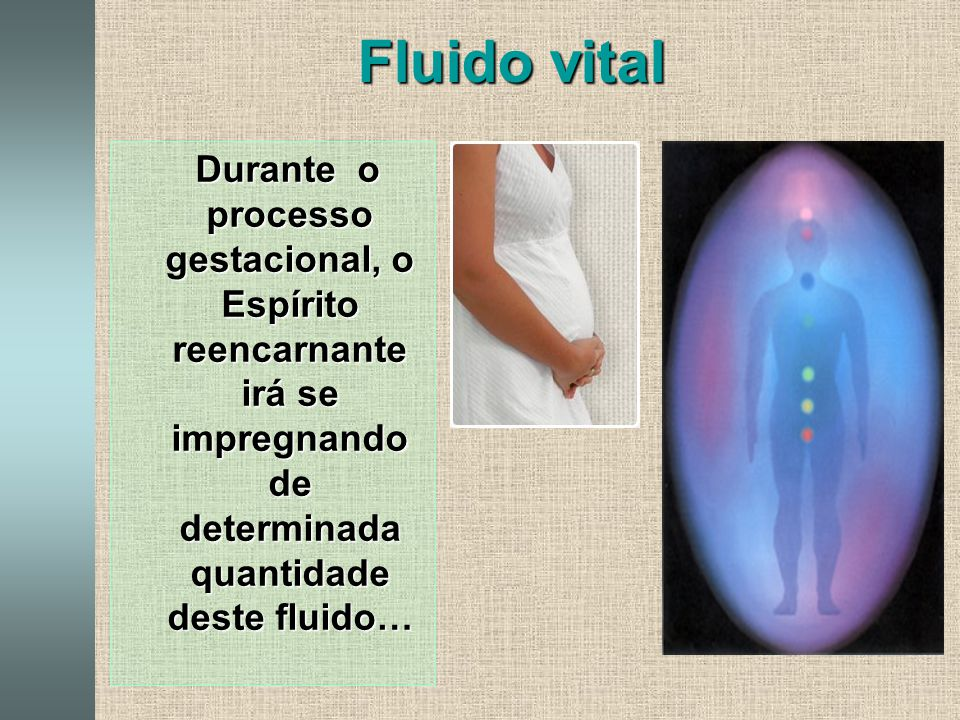 Fluido vital Durante o processo gestacional, o Espírito reencarnante irá se impregnando de determinada quantidade deste fluido…