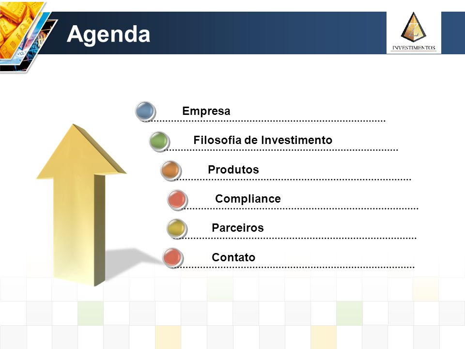 Agenda Empresa Filosofia de Investimento Produtos Compliance Parceiros